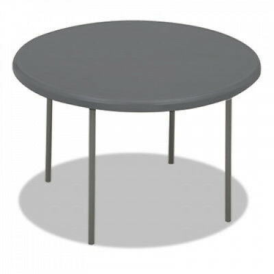 IndestrucTables Too 1200 Series Resin Folding Table, 48 dia x 29h, Charcoal,