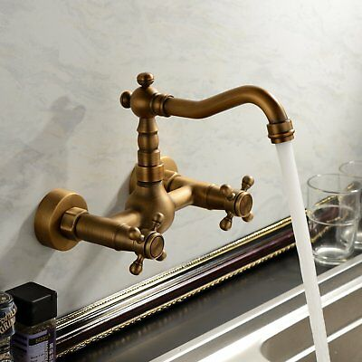 Antique Brass Wall Mount Bathroom Sink Faucet Dual Handle Swivel Spout Mixer Tap