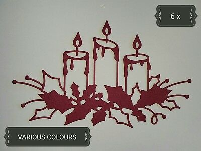Christmas Candle Group Paper Die Cuts x 6 Scrapbooking Card Topper Embellishment