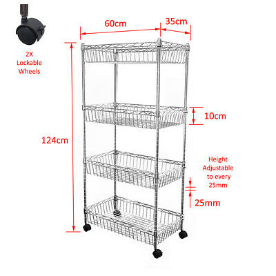 124x60x35cm Real Chrome Wire Rack Metal Steel Kitchen Shelving Racks Caster DCUK