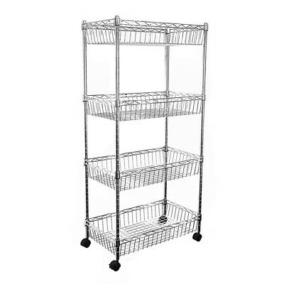 124x60x35cm Real Chrome Wire Rack Metal Steel Kitchen Shelving Racks Caster UKES