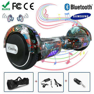 6,5Zoll Bluetooth Overboard E-Skateboard Self-balance Scooter Offroad COOL LED #