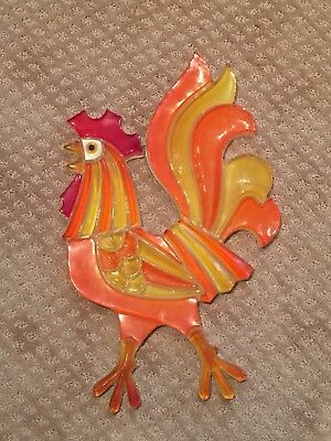 Vintage Acrylic Lucite Rooster Wall Hanging Yellow Orange
