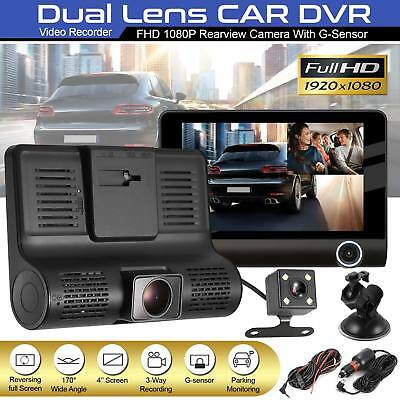 "4"" Car DVR Dash Cam Recorder Camera Dual Lens HD 1080P Rearview Video G-sensor"