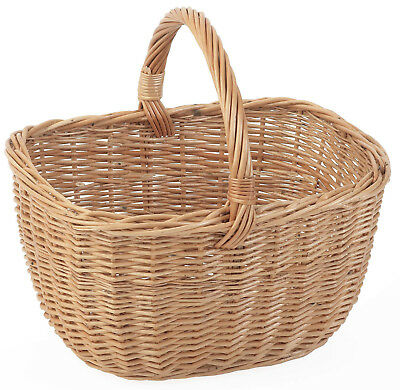 NEW Standard Cookery Hand Shopping Wicker Basket Carry Handle Picnic Hamper Oval