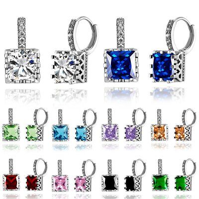 Fashion Geometric Square Zircon Ear Stud Hoop Earrings Womens Charm Jewellery