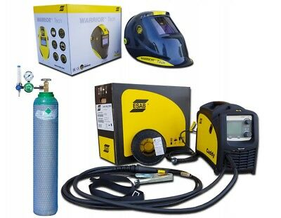 ESAB CADDY MIG C200i WELDING MACHINE + BOTTLE + REGULATOR + Helmet Warrior Tech