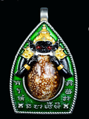 Beautiful Thai Buddha Amulet 3in1 Phra Chaosua Rahu Suck Biakae LP.Sanya Pendant