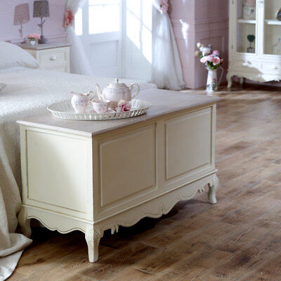Cream wood painted ottoman storage blanket box chest shabby chic French bedroom