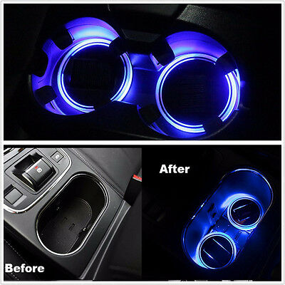 1PC Solar Cup Pad  LED Light Cover Holder Interior Decor Lights Car Accessories