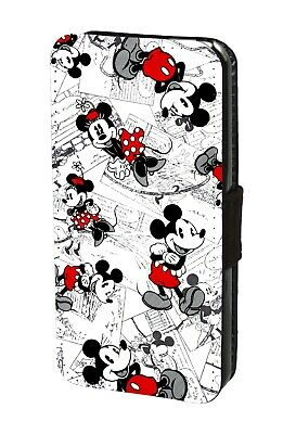 Mickey Minnie Mouse Disney Hülle Handyhülle Faux Leather Flip Case Cover