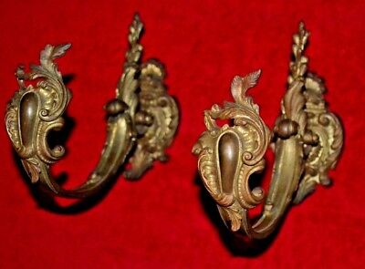 Vintage Pair Brass Wall Sconces French Style  Wall Art  Large and Heavy