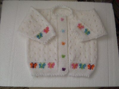 Hand Knitted Baby Girls Cardigan White with Butterflies 12-18 Months NEW BESPOKE