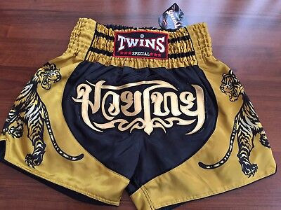 New In! Twins Special Muay Thai/Boxing Shorts Adults Size XL(black/gold)