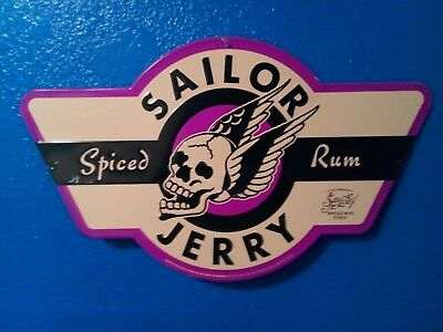 "Sailor Jerry Spiced Rum Tin Flying Skull Sign 24"" X 14"""