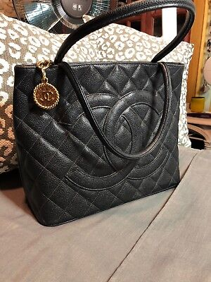6575e61b4615 AUTHENTIC CHANEL BLACK Quilted Caviar Leather Medallion Tote Bag ...