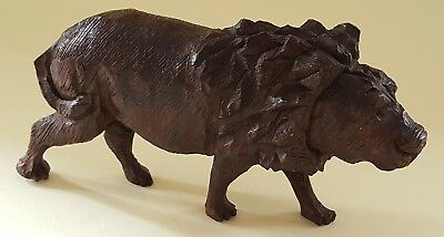 Black Forest carved wood vintage Victorian antique lion figurine ornament