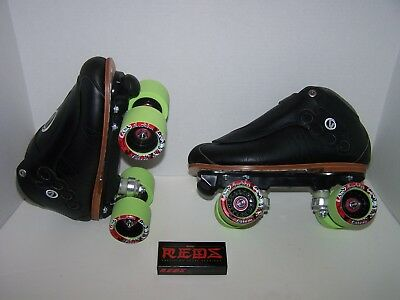"New Vanilla ""blackout"" Knuckles Custom Leather Roller Skates Mens 10"