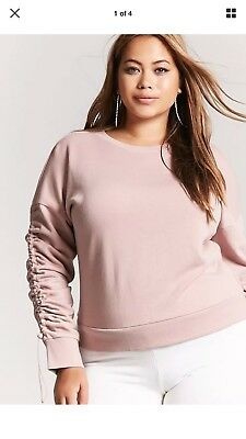 6953bc7b719 FOREVER 21 PLUS Blush French Terry Pullover Sweatshirt - Size XL ...