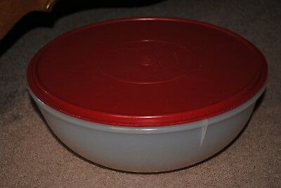 Tupperware Fix & Mix Bowl 26 Cup Red Lid Older Style Used Good