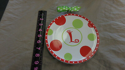 Mud Pie Christmas Cheese Plate Spreader Initial  'L'  Polka Dots Monogram