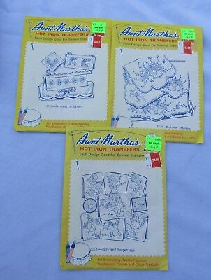 Aunt Martha's Hot Iron Transfers - embroidery, needlepoint, painting - Lot of 3
