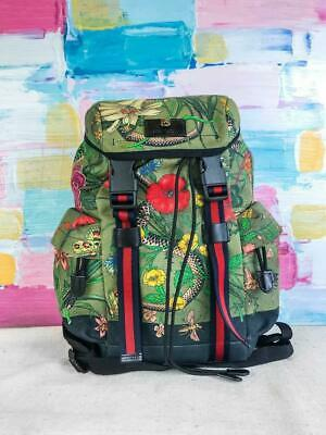 1fda2407844a  1980 GUCCI Green Floral Snake Print Canvas Drawstring Rucksack Backpack  SALE!