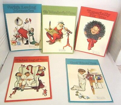 """lot of 5 Vintage Norman Rockwell Christmas Cards UNUSED 8 1/2"""" x 6"""" Excellent"""