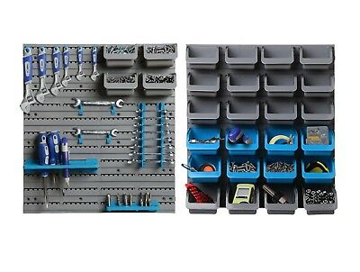 Giantz Wall-Mounted Storage Bin Rack Tool Box Garage 44 Unit Shelving Organiser