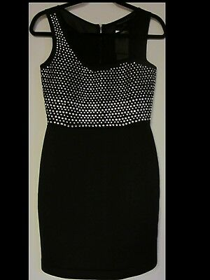 e0251697b8ef French Connection Diamond Rock Rhinestone Jersey Scuba Bodycon Dress Black  Sz 6