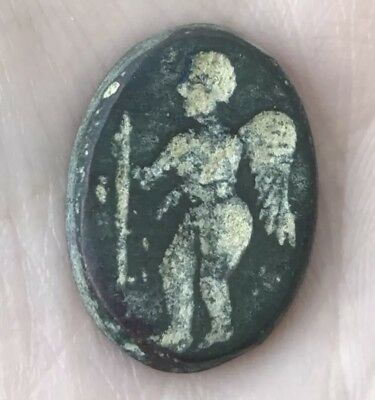 Very Rare Ancient Old A Man Angel Intaglio Bronze Stamp Seal Wax Demo