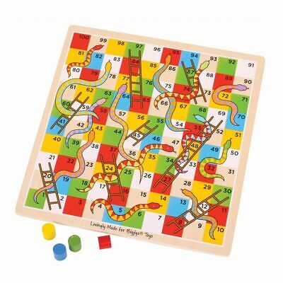 Bigjigs Toys Traditional Wooden Snakes and Ladders Board Game
