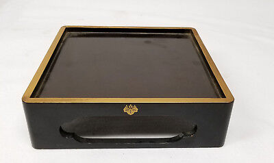 Antique Japanese Vintage Lacquer Base Stand Gilt Gold Flake Crest Lacquered