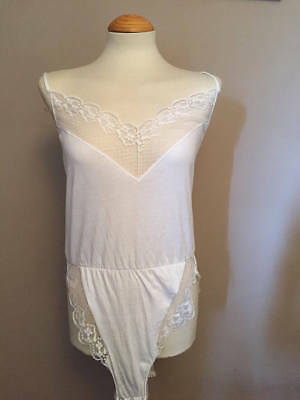 Vintage Cotton Camisole, Underwear, Lingerie - White Lacy, With Stretch, UK 14