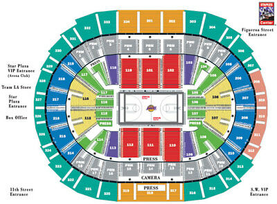 5 La Lakers Vs Golden State Warriors Tickets 1/21 Sect 321 Row 9