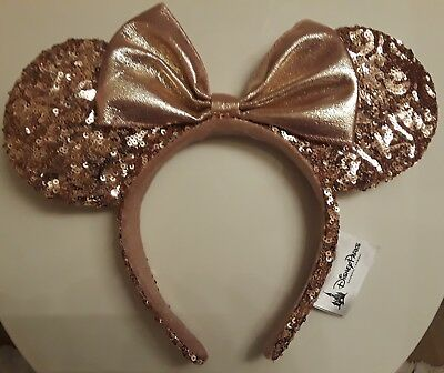 Disney Parks Rose Gold Mickey Mouse Ears Nwt Rose Gold Sequins Ears And Bow