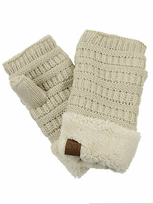 New! C.C Women's Warm Knit Fingerless Half Finger Fleece Lined Winter Gloves