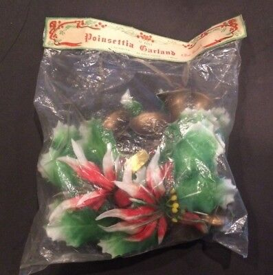 Vintage Christmas Plastic Garland Poinsettia Bells Original Packaging - Lot of 2