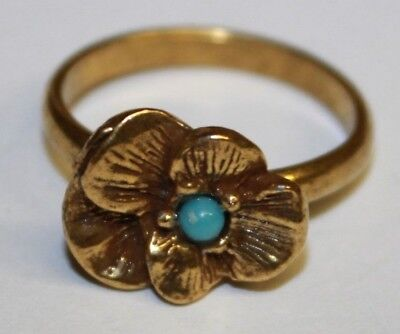 Vintage Gold Tone Flower Ring Faux Turquoise Cabachon Center Adjustable