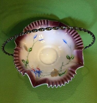 Antique Ruffle Edge Painted Bride Basket And Tufts Silverplate Stand