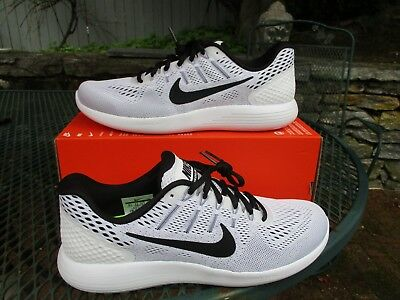 4c865cadae474 Mens Nike Lunarglide 8 Running Shoes Size 10.5 Grey Black White AA8676 101  New!