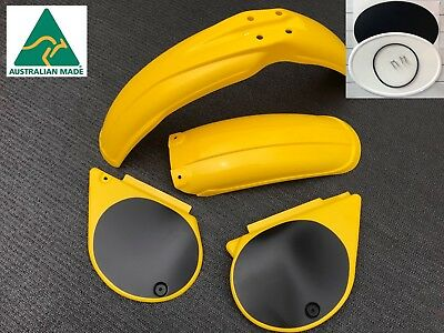 YELLOW Yamaha YZ 250 D 400 E  Plastic Kit Fenders Side Covers & Number Plate NEW