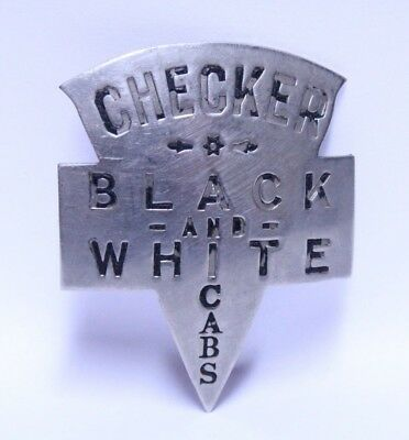 Nice Early Checker Black & White Taxi Cab Co. Driver Hat Or Shirt Badge