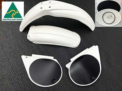WHITE Yamaha YZ 250 400 D & E Plastic Kit Fenders Side Covers & Number Plate NEW