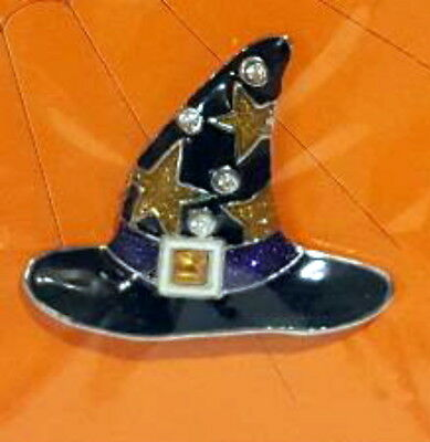 "Halloween Witch Hat Pin Brooch  1.5"" Enameled Metal Stars by Ganz  NOS"
