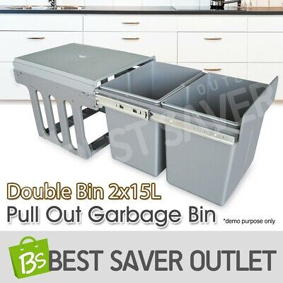 15LX2 Twin Pull Out Garbage Rubbish Bin Kitchen Dual SlideRemovable Waste Basket