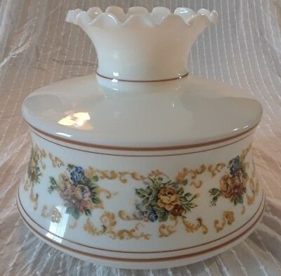 """VTG Oil Lamp Shade Floral Pattern Large Glass Shade 43"""" Circumference"""