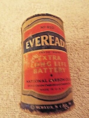 Vintage Eveready D Cell Battery Model No. 950  1929 MCMXXIX