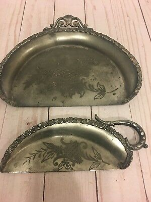 Vintage Set Of Two Butler's Dust Pan Table Crumb Catcher Table Sweeper.