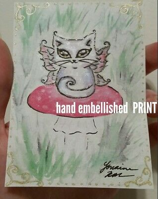 ACEO embellished PRINT Cat Kitty Kitten Fairy Cute Adorable whimsical fantasy